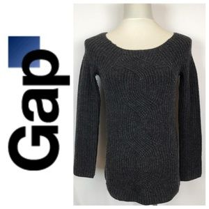 GAP Charcoal Gray Ribbed Cable Knit Sweater
